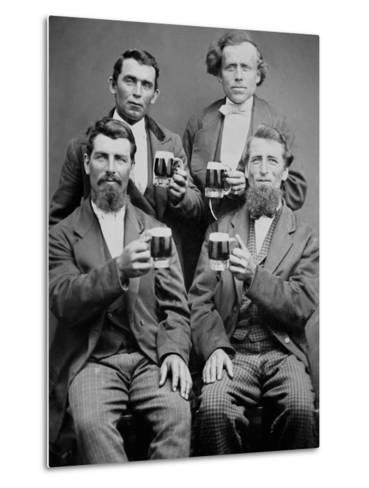 Four Guys and their Mugs of Beer, Ca. 1880--Metal Print