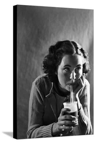 Girl Sipping a Soda-Philip Gendreau-Stretched Canvas Print