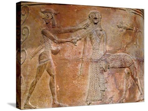 Detail of Cycladic Terracotta Relief of Perseus Killing Medusa--Stretched Canvas Print