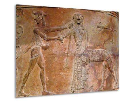 Detail of Cycladic Terracotta Relief of Perseus Killing Medusa--Metal Print