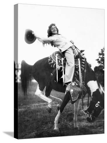 Young Woman on Phony Pony, Ca. 1940--Stretched Canvas Print