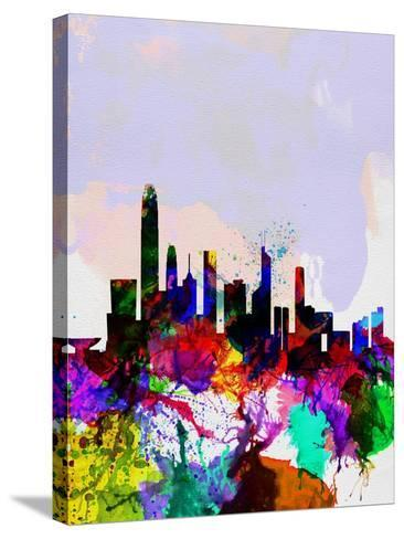 Hong Kong Watercolor Skyline-NaxArt-Stretched Canvas Print