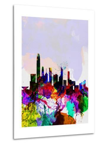 Hong Kong Watercolor Skyline-NaxArt-Metal Print