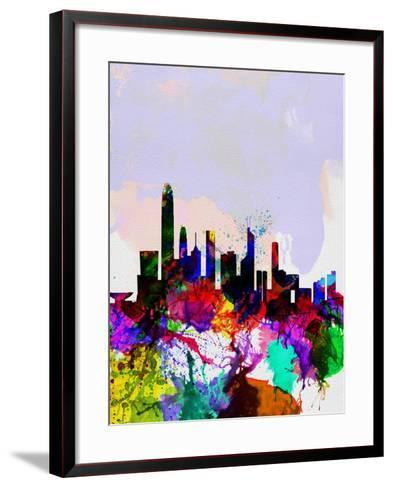 Hong Kong Watercolor Skyline-NaxArt-Framed Art Print