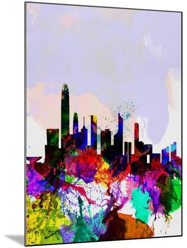 Hong Kong Watercolor Skyline-NaxArt-Mounted Art Print