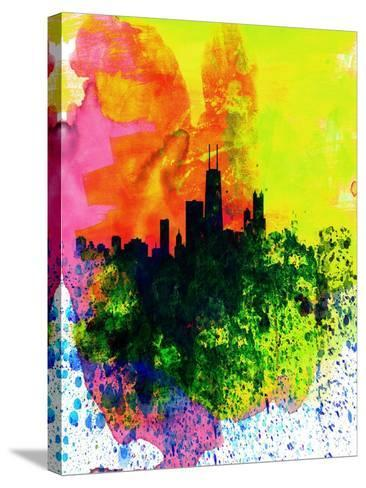 Chicago Watercolor Skyline-NaxArt-Stretched Canvas Print