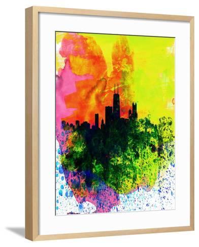 Chicago Watercolor Skyline-NaxArt-Framed Art Print