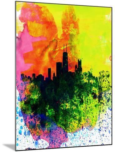 Chicago Watercolor Skyline-NaxArt-Mounted Art Print