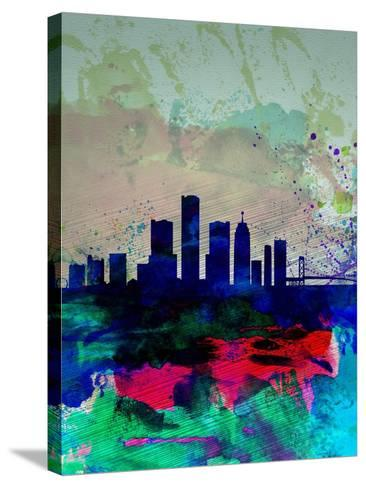 Detroit Watercolor Skyline-NaxArt-Stretched Canvas Print