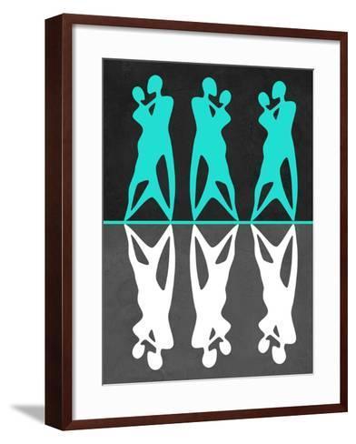 Green and White Couple Dancing-Felix Podgurski-Framed Art Print