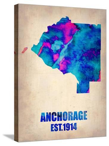 Anchorage Watercolor Map-NaxArt-Stretched Canvas Print
