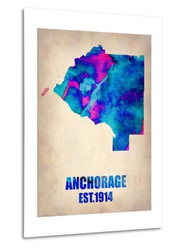 Anchorage Watercolor Map-NaxArt-Metal Print