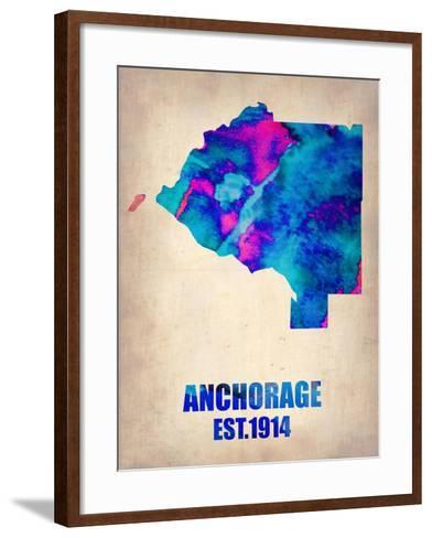 Anchorage Watercolor Map-NaxArt-Framed Art Print