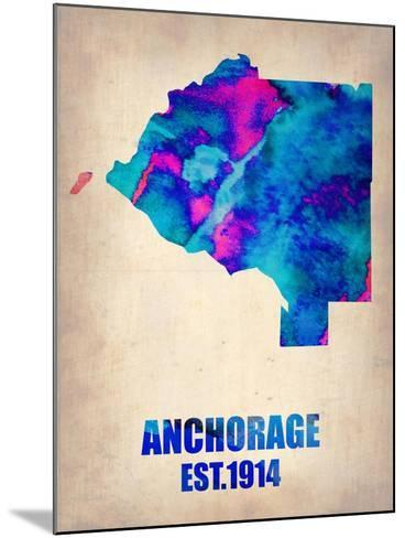 Anchorage Watercolor Map-NaxArt-Mounted Art Print