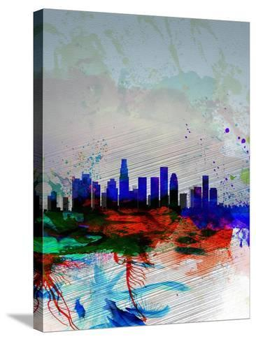 Los Angeles Watercolor Skyline 1-NaxArt-Stretched Canvas Print