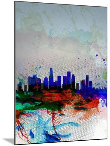 Los Angeles Watercolor Skyline 1-NaxArt-Mounted Art Print