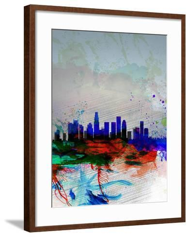 Los Angeles Watercolor Skyline 1-NaxArt-Framed Art Print