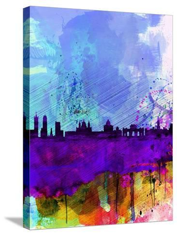 Madrid Watercolor Skyline-NaxArt-Stretched Canvas Print
