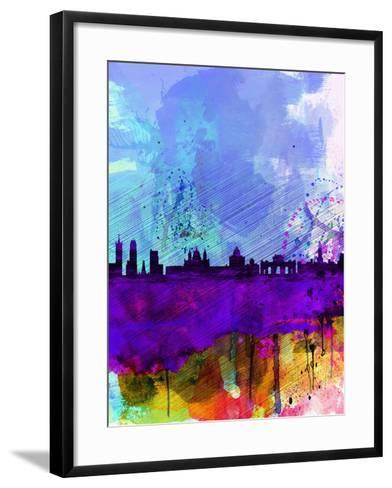 Madrid Watercolor Skyline-NaxArt-Framed Art Print