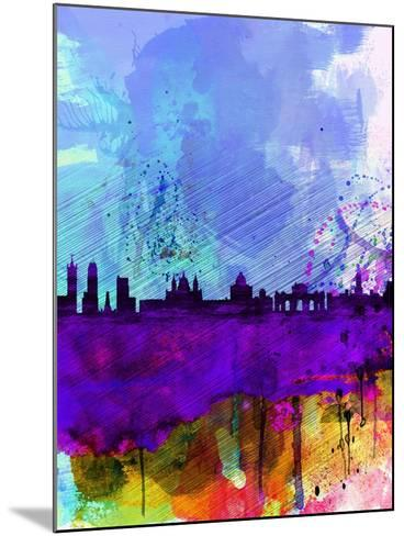 Madrid Watercolor Skyline-NaxArt-Mounted Art Print