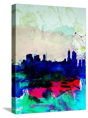 Melbourne Watercolor Skyline 2-NaxArt-Stretched Canvas Print