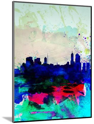Melbourne Watercolor Skyline 2-NaxArt-Mounted Art Print