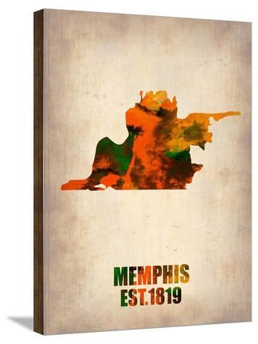 Memphis Watercolor Map-NaxArt-Stretched Canvas Print