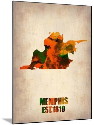 Memphis Watercolor Map-NaxArt-Mounted Art Print