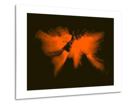 Orange Radiant World Map-NaxArt-Metal Print