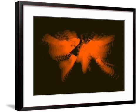 Orange Radiant World Map-NaxArt-Framed Art Print