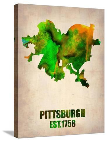 Pittsburgh Watercolor Map-NaxArt-Stretched Canvas Print