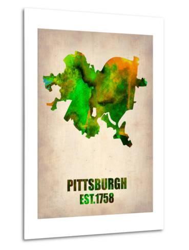 Pittsburgh Watercolor Map-NaxArt-Metal Print