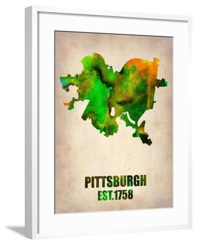 Pittsburgh Watercolor Map-NaxArt-Framed Art Print