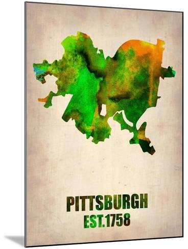 Pittsburgh Watercolor Map-NaxArt-Mounted Art Print