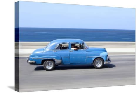 Panned' Shot of Old Blue American Car to Capture Sense of Movement-Lee Frost-Stretched Canvas Print