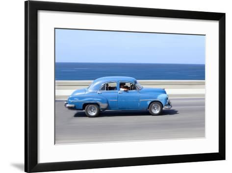 Panned' Shot of Old Blue American Car to Capture Sense of Movement-Lee Frost-Framed Art Print