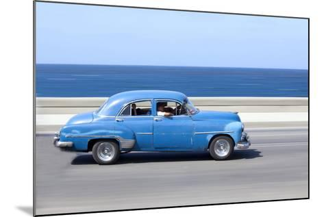 Panned' Shot of Old Blue American Car to Capture Sense of Movement-Lee Frost-Mounted Photographic Print