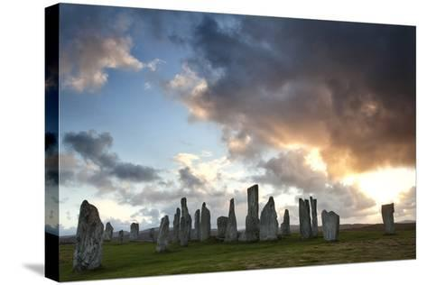 Standing Stones of Callanish at Sunset with Dramatic Sky in the Background-Lee Frost-Stretched Canvas Print