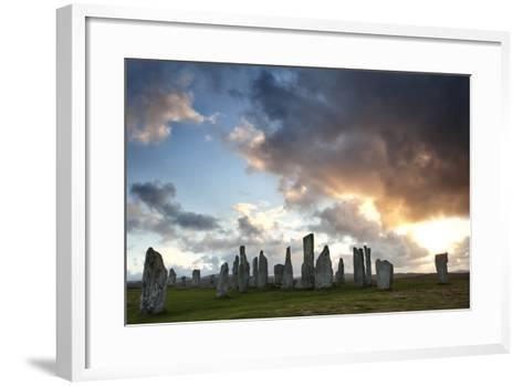 Standing Stones of Callanish at Sunset with Dramatic Sky in the Background-Lee Frost-Framed Art Print