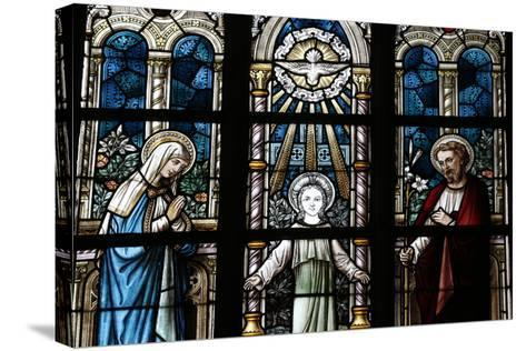 The Holy Family Depicted in a Stained Glass Window-Godong-Stretched Canvas Print