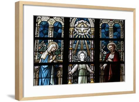 The Holy Family Depicted in a Stained Glass Window-Godong-Framed Art Print