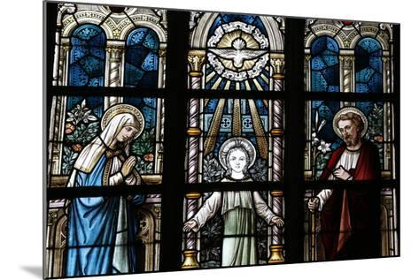The Holy Family Depicted in a Stained Glass Window-Godong-Mounted Photographic Print