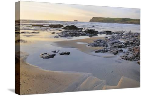 Tide Retreating at Sunset Leaving Tide Pools Among Rocks-Nick Upton-Stretched Canvas Print