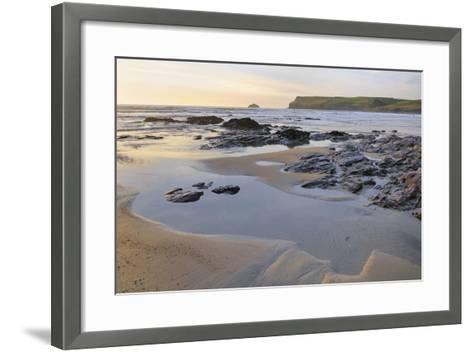 Tide Retreating at Sunset Leaving Tide Pools Among Rocks-Nick Upton-Framed Art Print