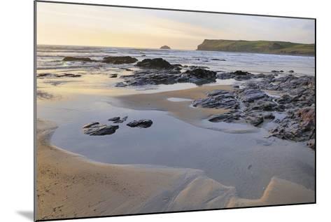 Tide Retreating at Sunset Leaving Tide Pools Among Rocks-Nick Upton-Mounted Photographic Print