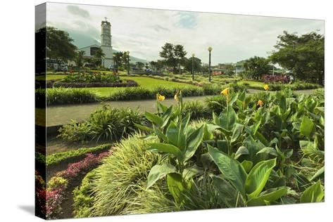 Church and Park in This Tourist Hub Town Near the Hot Springs and Arenal Volcano-Rob Francis-Stretched Canvas Print