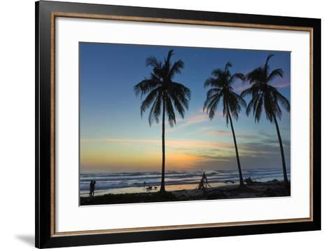 Palm Trees at Sunset on Playa Guiones Surf Beach at Sunset-Rob Francis-Framed Art Print