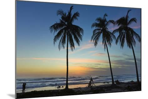Palm Trees at Sunset on Playa Guiones Surf Beach at Sunset-Rob Francis-Mounted Photographic Print
