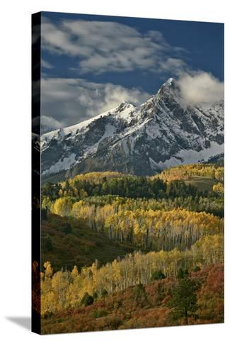 Mears Peak with Snow and Yellow Aspens in the Fall-James Hager-Stretched Canvas Print