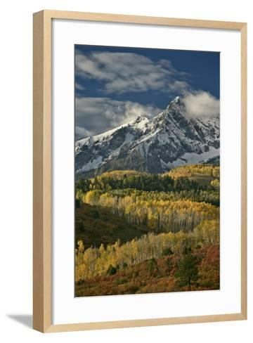 Mears Peak with Snow and Yellow Aspens in the Fall-James Hager-Framed Art Print